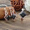 Набор Xuping 65093 кольцо размер 18 + серьги 24х11 мм черные фианиты позолота РО, фото 2