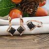 Набор Xuping 65093 кольцо размер 18 + серьги 24х11 мм черные фианиты позолота РО, фото 3