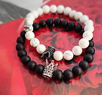 Парные браслеты из натуральных камней Black King & White Queen