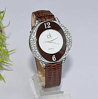 Женские наручные коричневые часы со стразами, фото 1