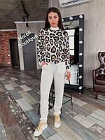 Жіночий в'язка костюм Ягуар (молоко, беж, сірий), фото 1