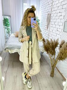 Женский льняной брючный костюм в полоску размеры 42-44, 46-48