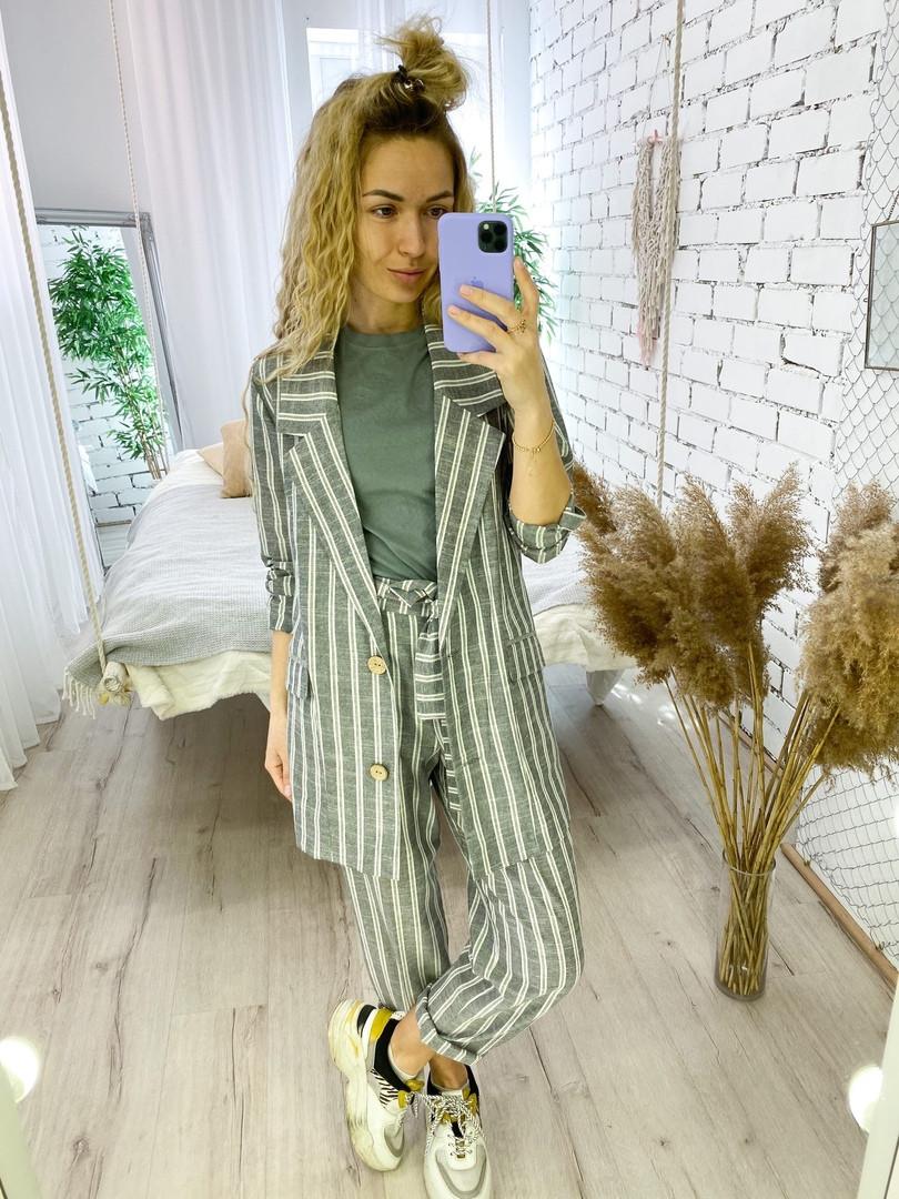 Жіночий лляної брючний костюм в смужку розміри 42-44, 46-48 сірий