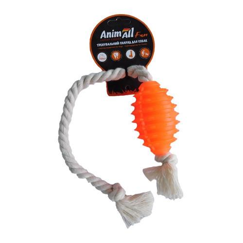 Игрушка AnimAll Fun граната с канатом, оранжевая, 8 см