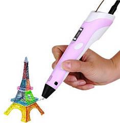 3D ручка c LCD дисплеем и эко пластиком для 3Д рисования Pen 2 Розовая