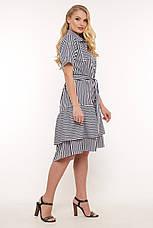 Платье с поясом для полных синее в полоску Кэт, фото 2