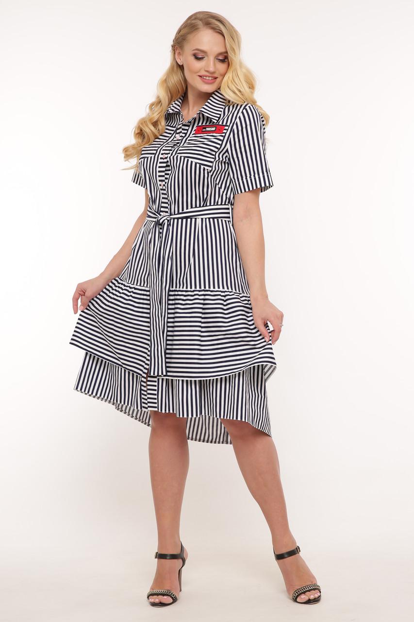 Платье с поясом для полных синее в полоску Кэт