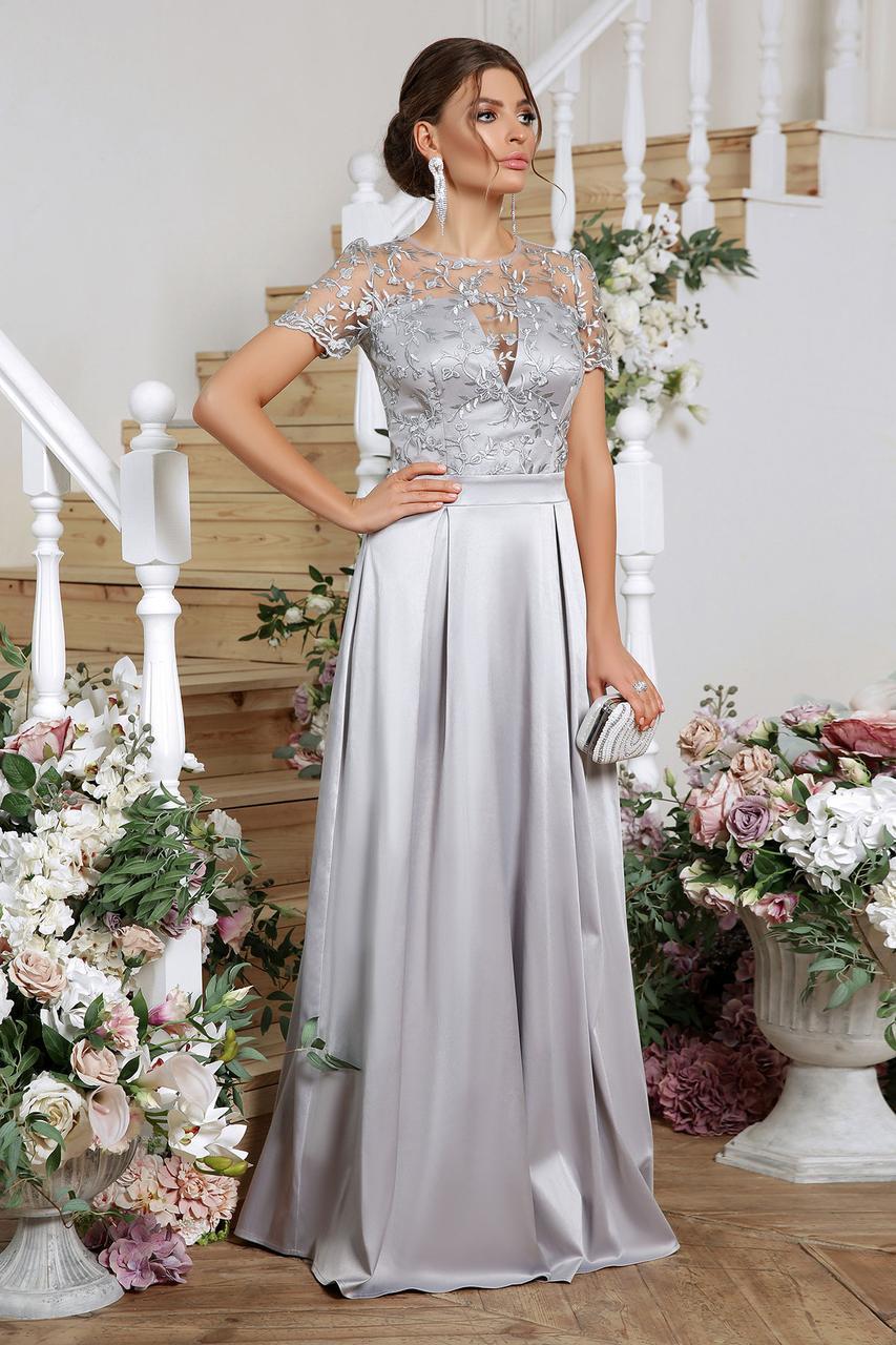 Святкова сукня з атласу та вишитої сітки