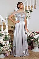 Святкова сукня з атласу та вишитої сітки, фото 1