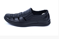 Чоловічі шкіряні літні туфлі Matador black чорні