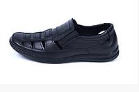 Мужские кожаные летние туфли Matador black черные, фото 1