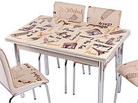 Стол раздвижной обеденный,оптом и в розницу,кухонная мебель,1010 KREM PARIS 188, кухонный стол и 4 стула