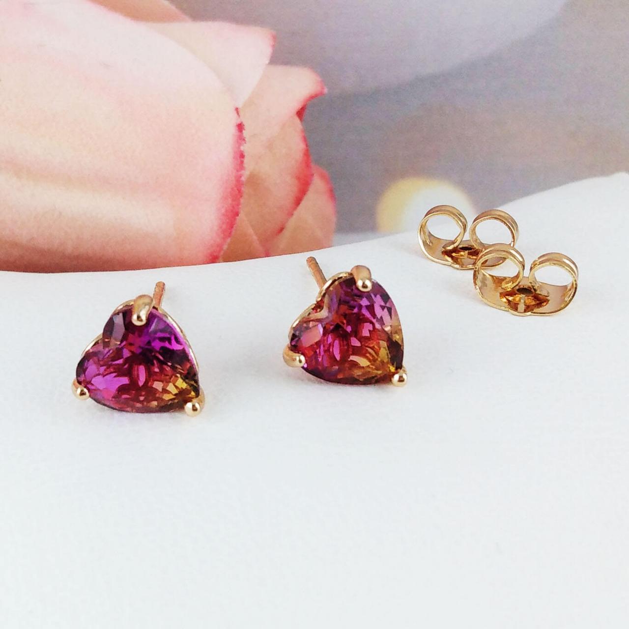 Серьги гвоздики Xuping Jewelry 8х8 Сердечки хамелеон медицинское золото, позолота 18К А/В 5116