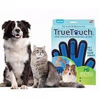 Перчатка для вычесывания животных True Touch Pet Brush Gloves, Синий/Черный