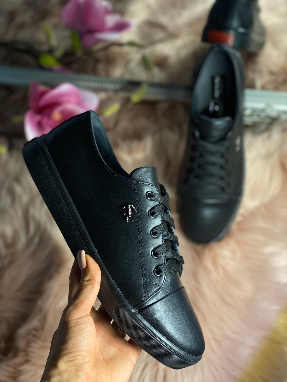 Женские стильные кожаные кеды Lacoste  model- L4, черные