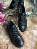 Женские стильные кожаные кеды Lacoste  model- L4, черные, фото 2