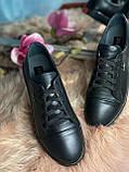Женские стильные кожаные кеды Lacoste  model- L4, черные, фото 3