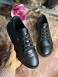 Женские стильные кожаные кеды Lacoste  model- L4, черные, фото 4