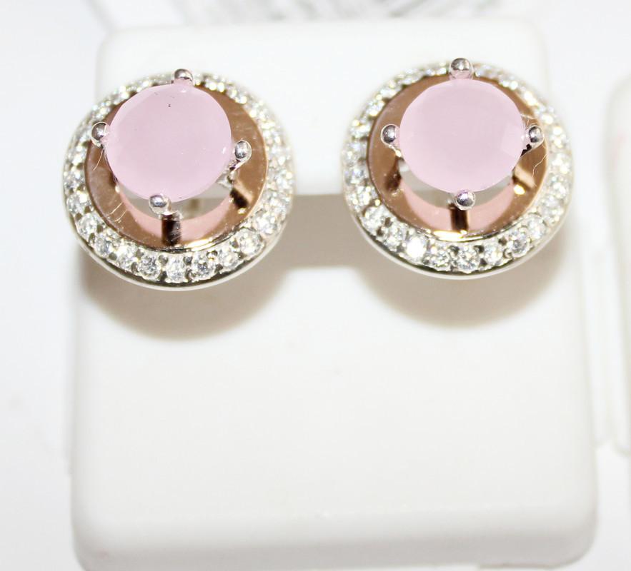 Круглые серьги с розовым цирконом серебро Афина