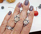 Серебряные серьги и кольцо с бело-черной эмалью Роза, фото 3