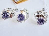 Серебряный набор с камнем лаванда Карли, фото 1