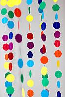 Бумажная гирлянда круг ажурный (фигура 6см, плотность картона 160-170 гр/м3), фото 1