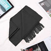 Зимний однотонный женский шарф с бахромой черный, фото 1