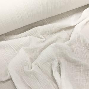 Ткань муслин жатый двухслойный, белый (шир. 1,3м)