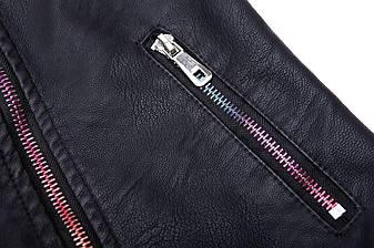 Черная куртка-косуха для девочки 9-12лет, фото 2