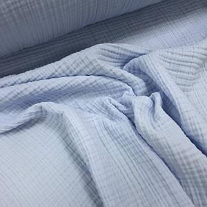 Ткань муслин жатый четырехслойный, голубой (шир. 1,6м)