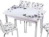 Стол раздвижной обеденный 1004 SIYAH CICEK 177,набор.Комплекты кухонной мебели,Комплект обеденной мебели