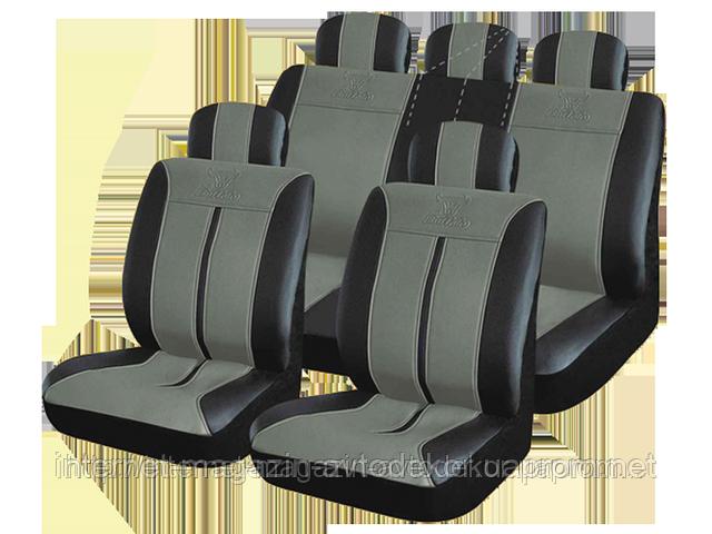 Чехлы на сиденья, кожзам H&R Буффало (Израиль) черно-серые