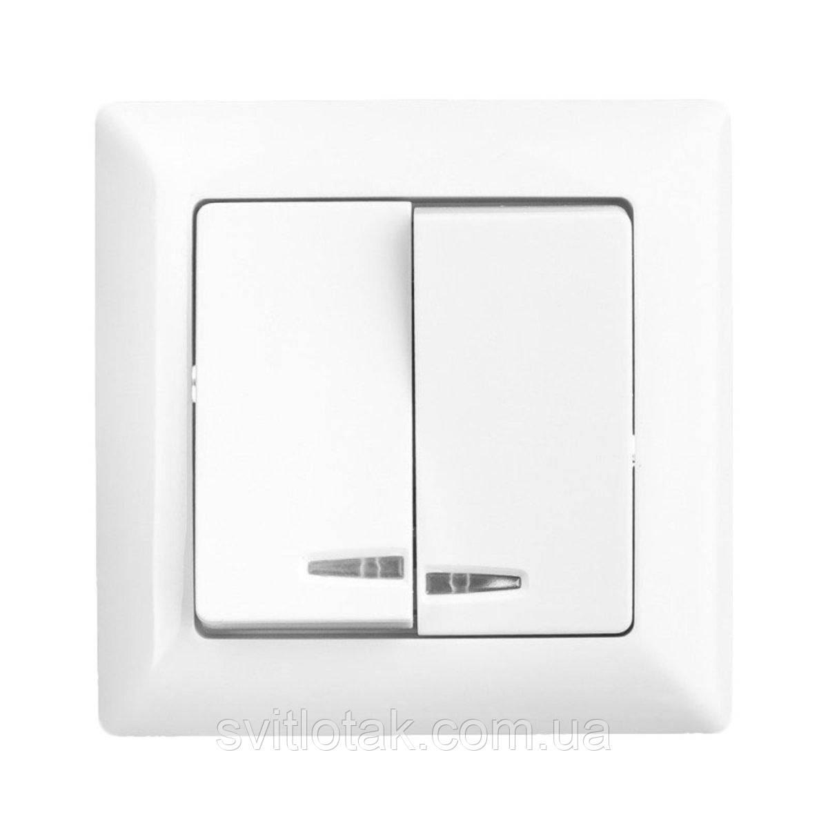 Lectris выключатель 2-ой с подсветкой белый