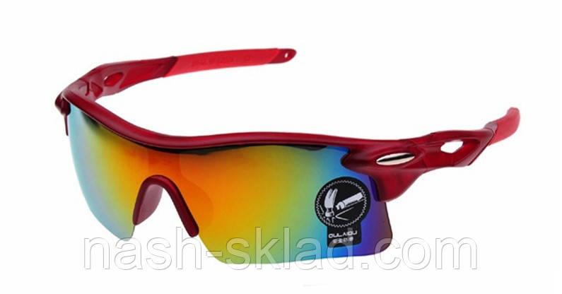 🕶 Мужские спортивные очки, темно красный, фото 2
