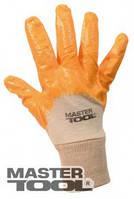 """MasterTool  Перчатки х/б трикотаж, неполное нитриловое покрытие, вязаный манжет (желтые) 9"""", 52-55 г, Арт.: 83-0405-M"""