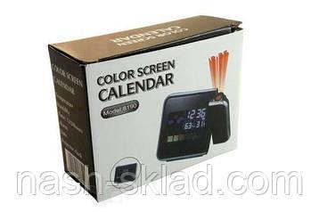 Часы метеостанция с проектором времени Color Screen Calendar 8190, фото 2