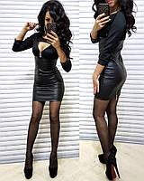 Черное платье мини трикотаж и стеганная кожа, фото 1