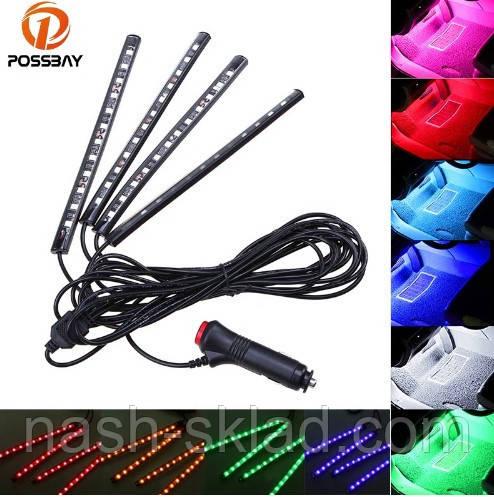 🚇 🔊 Цветная подсветка для авто  RGB 12 led режим свето музыки