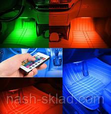 🚇 🔊 Цветная подсветка для авто  RGB 12 led режим свето музыки, фото 2