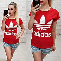 Женская футболка адидас 100% катон реплика Adidas Турция красная, фото 1