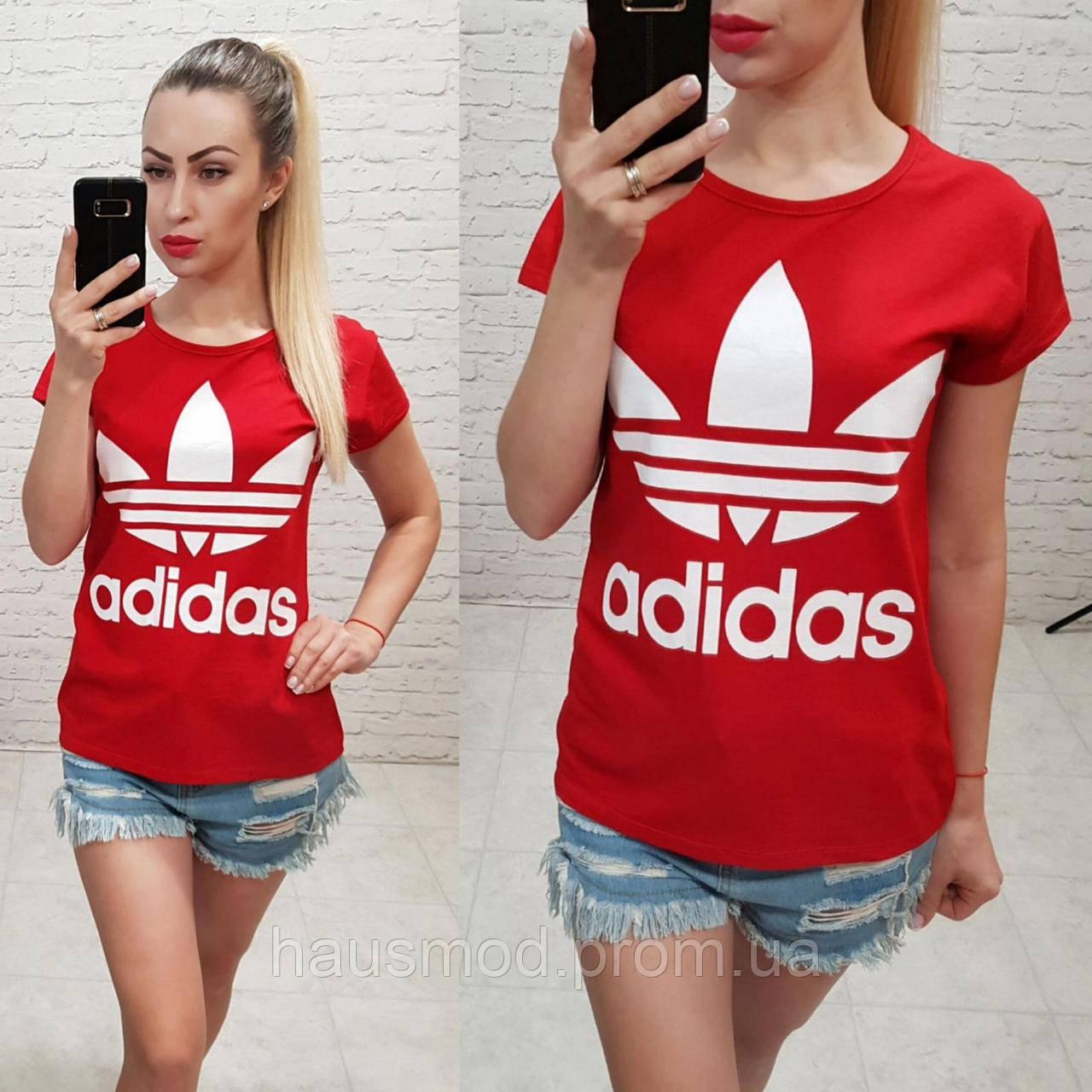 Женская футболка адидас 100% катон реплика Adidas Турция красная