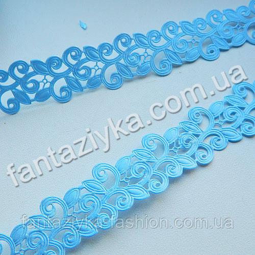 Атласная тесьма голубая 20мм для декора
