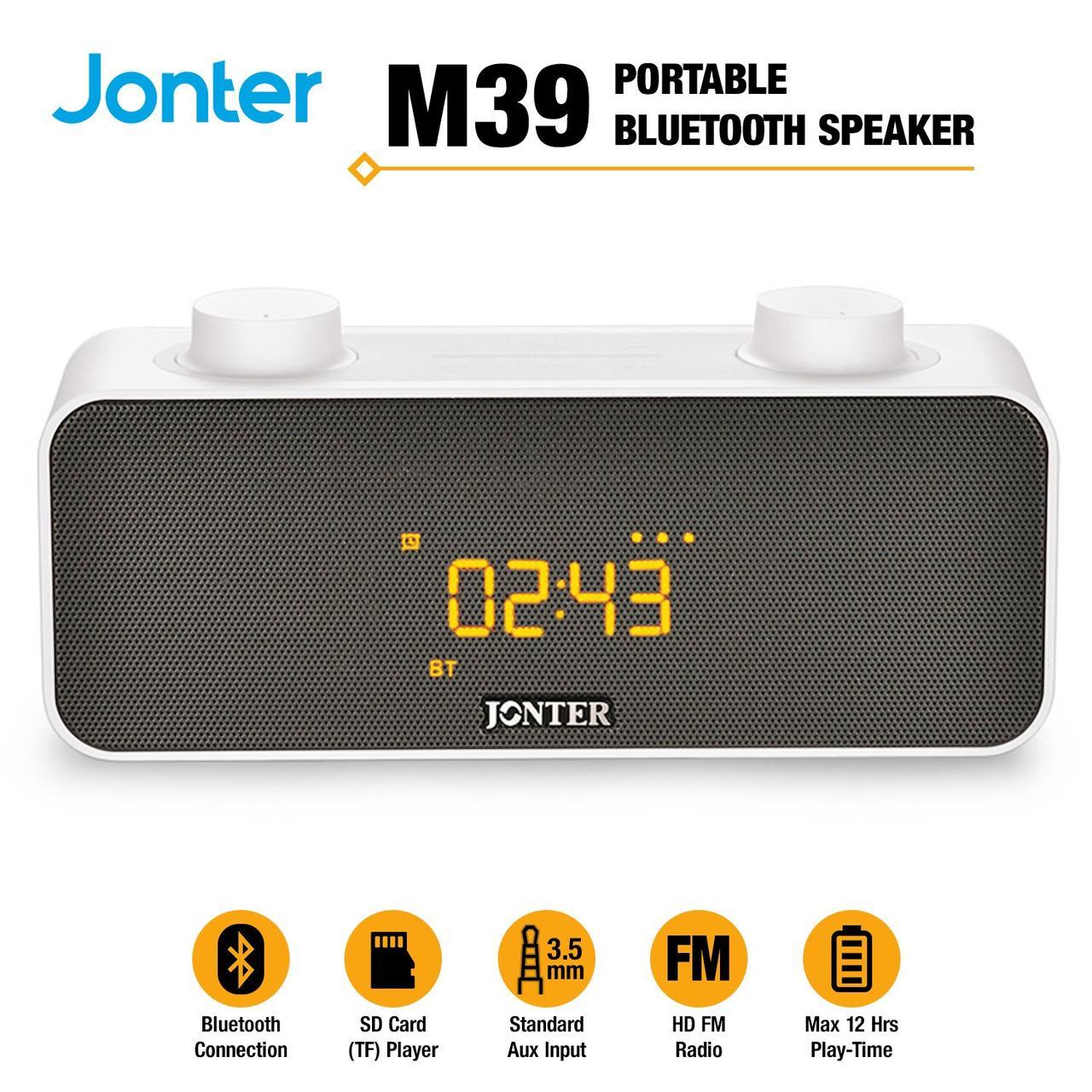 Колонка Bluetooth Jonter M39 с часами Черный