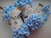 Турецкая фантазийная пряжа Puffy Alize светло голубого цвета 183