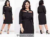 Платье женское прямого кроя с эффектной вставкой из сетки (4 цвета) ВК/-128 - Черный, фото 1