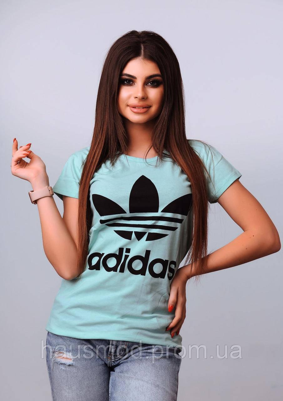 Женская футболка 100% катон реплика Adidas Турция голубая