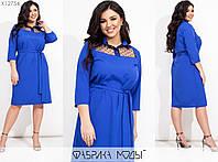 Сукня жіноча прямого крою з ефектною вставкою із сітки (4 кольори) ВК/-128 - Електрик, фото 1