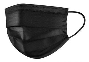 Маска защитная для лица респиратор повязка на резинках одноразовая фильтрующая захистна черная MONDO