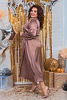 Платье женское шелковое большого размера шоколад