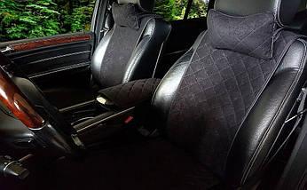 Накидки, авточехлы на сидения автомобиля Алькантара стиль, Черные, задний комплект стандарт, фото 2
